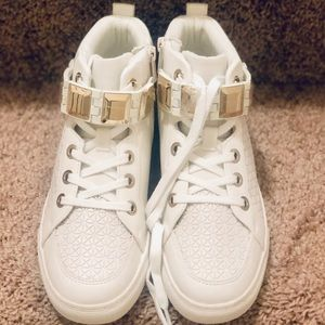 Cream and Gold High Top Sneakers